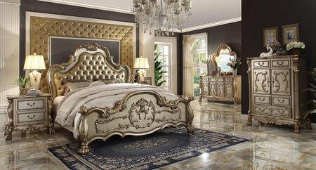 Dresden Collection 23160QDMC2N 6 PC Bedroom Set with Queen Size Bed + Dresser + Mirror + Chest + 2 Nightstand in Gold Patina