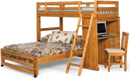 3611001 Twin Over Full Loft Bed with Desk End in