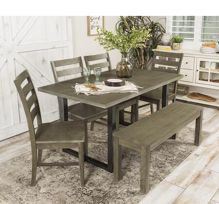 C60MDAGY-6 6-Piece Rustic Modern Farmhouse Wood Kitchen Dining Set in Aged