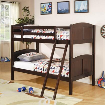 Parker Collection 460213 Twin Over Twin Bunk Bed with Guard Rails  Ladder  Panel Styling and Solid Pine Wood Construction in Chestnut