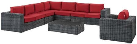 Summon Collection EEI-2014-GRY-RED-SET 7 Piece Outdoor Patio Sunbrella Sectional Set with Left Arm Facing Loveseat  2 Armless Chairs  Corner Chair  Right Arm