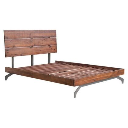 100584 Perth Collection King Size Bed with Metal Legs  Wood Construction  Slats Included and Panel Headboard  in