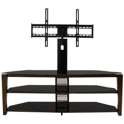 SE60SR22W 54 inch  Wide 3-Way Flat-Panel Stand for 60 inch  and Smaller Flat-Panel TVs  with Swivel Mount  Glass Top  2 Shelves  and Wooden Posts  in Walnut
