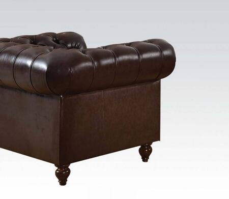 Shantoria Collection 51317 49 inch  Armchair with Nail Head Trim  Rolled Arms  Loose Seat Cushion  Turned Legs  Wood Frame and Bonded Leather Upholstery in Dark