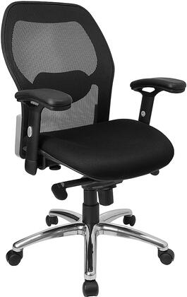 LF-W42-GG Mid-Back Super Mesh Office Chair with Black Fabric Seat and Knee Tilt