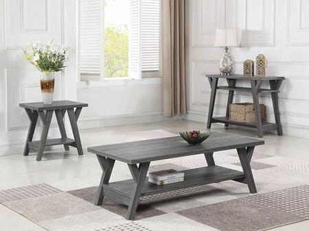721388-S3 3-Piece Living Room Table Set with Coffee Table  End Table and Sofa Table in Distressed