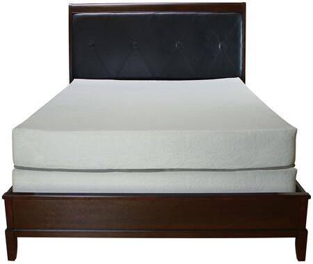 Denver Collection Queen Size Bed with Black Faux Leather Upholstered Headboard  Low Profile Footboard  Tropical Hardwood Construction and Wood Veneer Material
