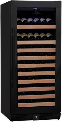 KBU-100W-FG 24 inch  1 Temperature Zone Wine Cooler with 98 Bottle  Warp Resistant Beech Wood Shelves and Door Lock: Glass Door in