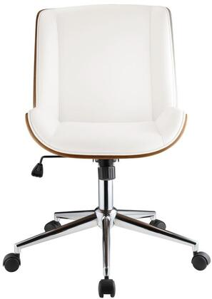 Yeva Collection 92512 Office Chair with 360 Degrees Swivel Seat  Adjustable Height  Bucket Shape Seat  Chrome Finish Base  White PU Leather Upholstery and