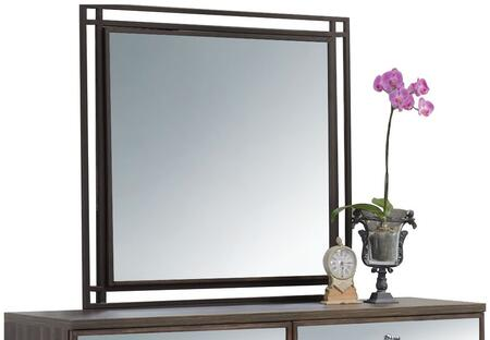Adrianna Collection 20954 40 inch  x 40 inch  Mirror with Metal Frame  Square Shape and Melamine Veneer Materials in Walnut