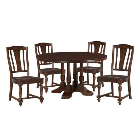 Tanner Collection 60835WSET 5 PC Dining Room Set with Round Shaped Dining Table and 4 Wooden Side Chairs in Cherry