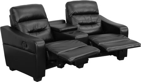 BT-70380-2-BK-GG Futura Series 2-Seat Reclining Black Leather Theater Seating Unit with Cup 548613