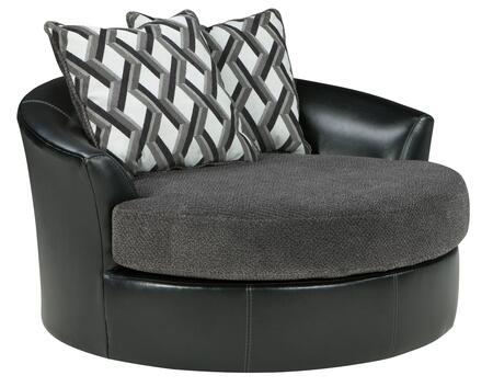 Kumasi 3220221 58 Oversized Swivel Accent Chair With Pillows Included  Fabric Seat Cushion And Faux Leather Outer Cover In