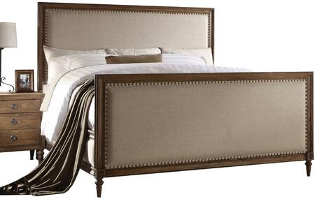 Inverness Collection 26087EK King Size Bed with Nail Head Trim  Turned Legs  Beige Fabric Upholstery  Pine and Cypress Wood Construction in Reclaimed Oak