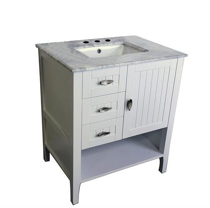 7616-WH-WH 30 inch  Single Sink Vanity in White with Marble Top in