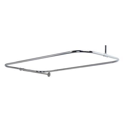 4152-54-CP Rectangular Shower Rod  w/Side Sprt  54 x 24  Polish