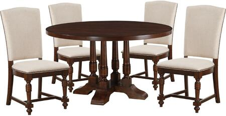 Tanner Collection 60835FSET 5 PC Dining Room Set with Round Shaped Dining Table and 4 Fabric Upholstered Side Chairs in Cherry