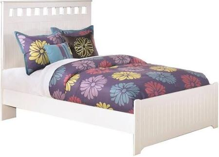 Lulu Collection B102-84/86/87 Full Size Panel Bed with Grooved Panels  Rectangular Cut-Out Shapes and Replicated Paint in