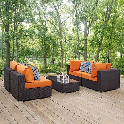 EEI-2356-EXP-ORA-SET Convene 5 Piece Outdoor Patio Sectional 745042