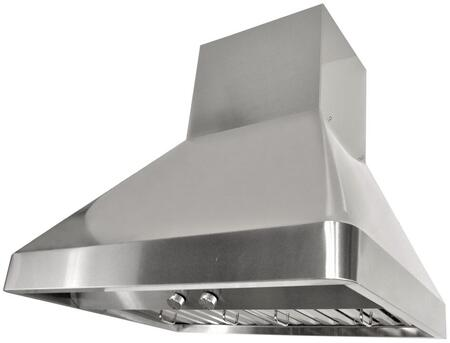 RAX9542SQB-DC-1 42 inch  Wall Mount Range Hood with 1200 CFM Internal Dual Blower  3 Speeds  Rotary Control  LED lights and Stainless steel Professional Baffle