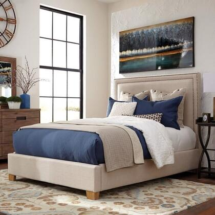 Madeleine II Collection 300570Q Queen Size Panel Bed with Double Nailhead Trim  Tapered Legs  Solid Hardwood Construction and Fabric Upholstery in Beige