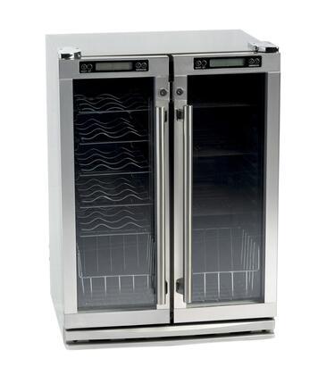 FSB-245OD Outdoor Beverage Cooler with Glass Shelving  2 Doors  Castors  Door Lock  Interior Lighting  in Stainless