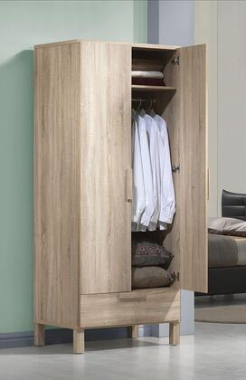 Odella Collection 98090 32 inch  Wardrobe with 1 Drawer  2 Doors and Paper Veneer Materials in Light Oak