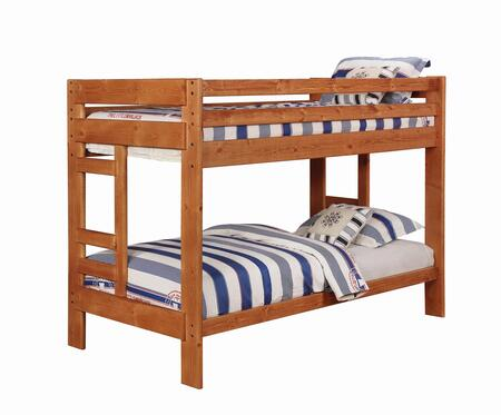Wrangle Hill Collection 460243 Twin Over Twin Bunk Bed with Built-In Ladders  Full Length Guard Rails and Solid Pine Wood Construction in Amber Wash