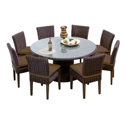 Venice-60-kit-8c-cocoa Venice 60 Inch Outdoor Patio Dining Table With 8 Armless Chairs With 2 Covers: Wheat And