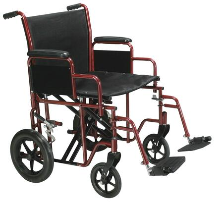 btr20-r Bariatric Heavy Duty Transport Wheelchair With Swing Away Footrest  20 Seat