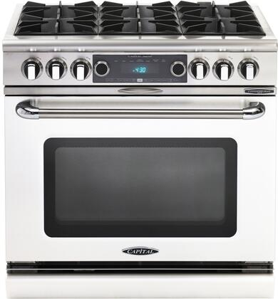 COB366TN 36 inch  Connoisseurian Series Freestanding Dual Fuel Electric Self-Cleaning Range with 4 Open Burners  4.6 Cu. Ft. Capacity  Flex Roller Racks  and