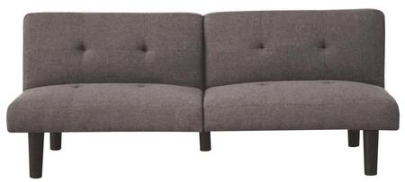 "Astra Collection 57016 65"" Adjustable Sofa with Eucalyptus Wood Frame  Backrest Half Folding  Foam Encased Cushion and Linen Upholstery in Grey"