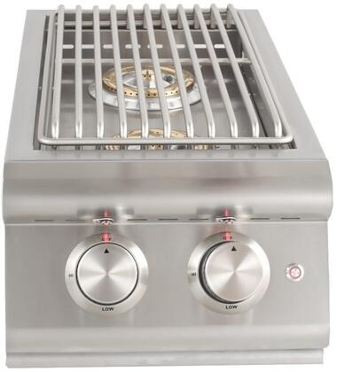 BLZ-SB2LTE-NG Natural Gas Double Side Burner with 12000 BTU per Brass Burner  Cover  Illuminated Control Knobs  in Stainless