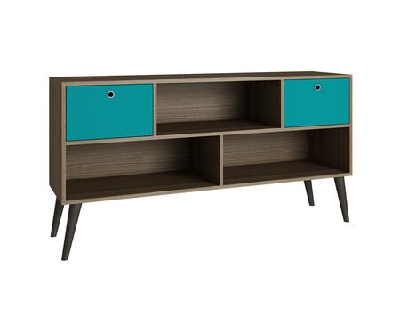 Uppsala Collection 4AMC134 53 inch  3-Shelve TV Stand with Splayed Legs and 2 Drawers in Oak and