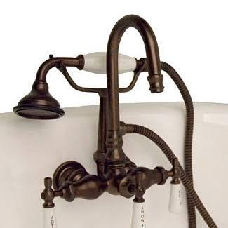 CAM684W-ORB Clawfoot Tub Brass Wall Mount Faucet with Hand Held Shower - Oil Rubbed