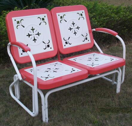 Retro Collection 71550 42 inch  Metal Glider with Decorative Vintage Stamped Design and Square 2-Tone Back and Seat in