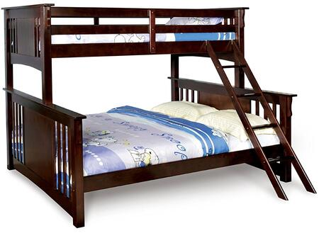 Spring Creek Collection CM-BK604-BED Twin XL Over Queen Size Bunk Bed with Angled Ladder  10 PC Slats Top/Bottom  Solid Wood and Wood Veneer Construction in
