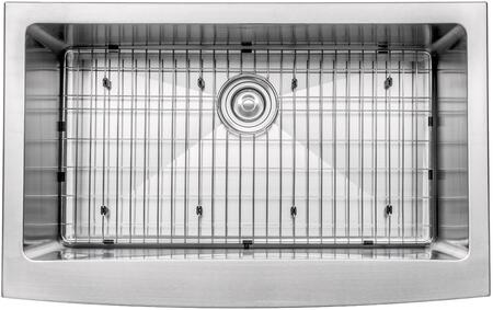 KHF20033163042CH Precision Series 33 inch  Apron Front Single-Bowl Kitchen Sink with Stainless Steel Construction  NoiseDefend  and Included Chrome Pull-Down Faucet