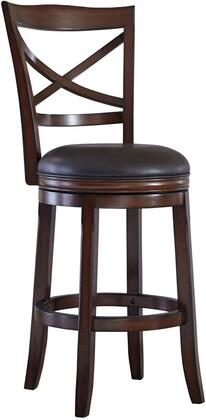 Porter Collection D697-430 Barstool with Brown Faux Leather Upholstery  360-Degree Swivel and Cherry-Tone Finished