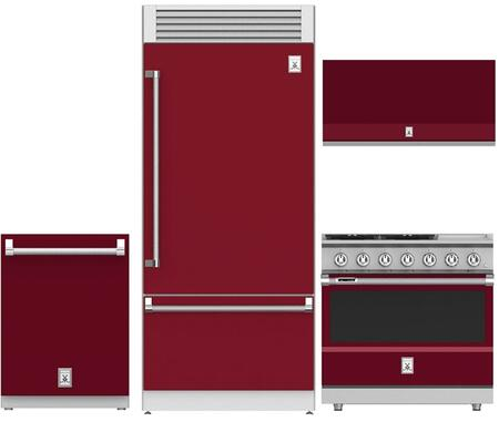 4-Piece Red Kitchen Package with 36
