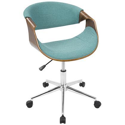 OFC-CURVO WL+TL Curvo Mid-Century Modern Office Chair in Walnut and