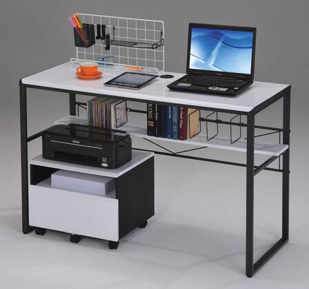Ellis 92072SET 2 PC Desk Set with Computer Desk + File Cabinet in Black and White