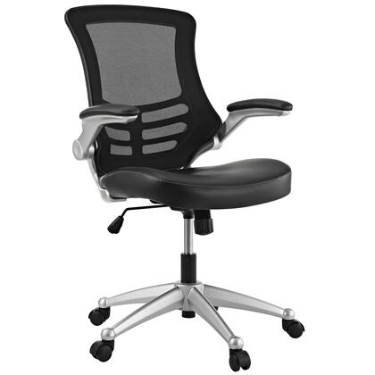 Attainment Collection EEI-210-BLK Office Chair with Adjustable Seat Height  Dual-Wheel Casters  Seat Tilt Tension Control  Mesh Back  Flip-Up Padded Arms and