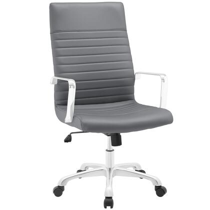 Finesse Collection EEI-1061-GRY Office Chair with 360 Degree Swivel  High Backrest  Adjustable Height  Polished Aluminum Frame and Ribbed Vinyl Upholstery in