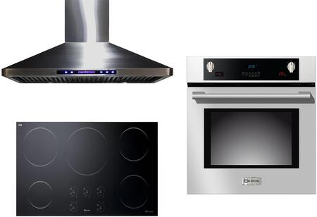 3-Piece Stainless Steel Kitchen Package with VECTI365 36 inch  Induction Smoothtop  VEBIEM3030SS 30 inch  Electric Single Wall Oven  and VEHOOD36CH 36 inch  Wall Mount Ducted