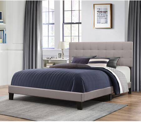 Delaney Collection 2009-663 King Size Bed with Headboard  Footboard  Rails  Fabric Upholstery and Low Profile Design in