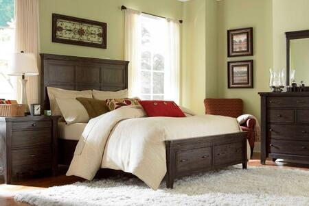 Attic Retreat Collection 4 Piece Bedroom Set With King Size Panel Storage Bed + 1 Nightstands + Dresser + Mirror: Weathered