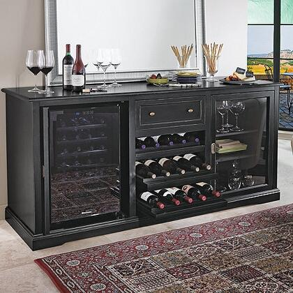 03350104 75 inch  Siena Wine Credenza Nero with Wine Refrigerator  Three Rolling Wood Shelves  1 Spacious Storage Area  Adjustable Shelves  and Deep Rolling Top