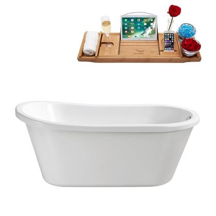 N72059FSWHFM 59 inch  Soaking Freestanding Tub with Internal Drain  Chrome Color Drain Assembly  110 Gallons Water Capacity  and Acrylic/Fiberglass Construction  in