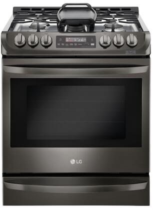 LG 6.3 Cu. Ft. Self-Cleaning Slide-In Gas Convection Range Black stainless steel LSG4513BD